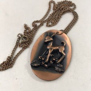 Darling vintage copper fawn pendant